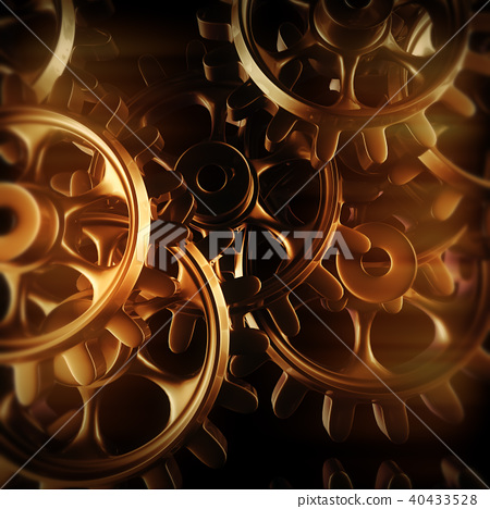 Gold gears and cogs macro 40433528