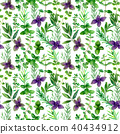 Herbs spices watercolor green seamless pattern 40434912