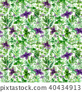 Herbs spices watercolor green seamless pattern 40434913