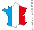 반 입체 부조 모양의 국기와지도의 일러스트 | 프랑스지도 | 벡터 데이터 40435003