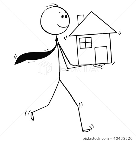 Cartoon of Businessman, Investor or Realtor Holding House in Hands 40435526