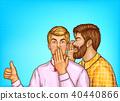 Vector pop art men whisper about sales 40440866