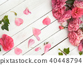 Romantic pink roses on white wooden background 40448794