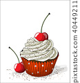 Cupcake with cherry on white background 40449211