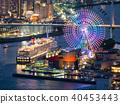 오사카 항에 정박하는 호화 여객선 및 항만의 야경과 레인보우의 관람차 40453443
