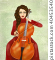 Woman playing the cello. Portrait of cellist. 40453540