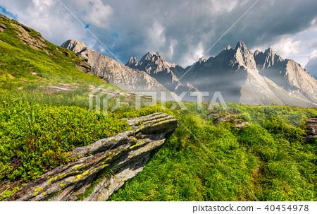rocky peaks and rocks on hillside in Tatras 40454978