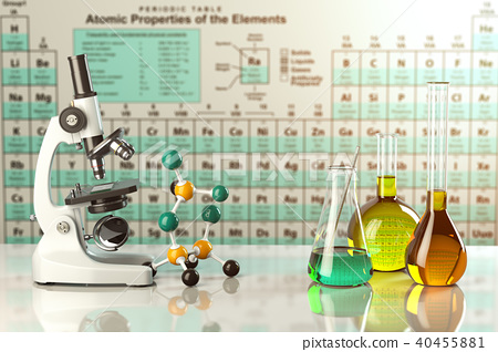 Microscope and test glass flasks and tubes  40455881