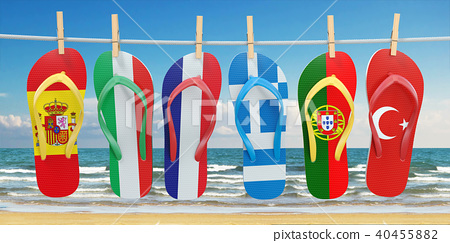 Hanging flip flops in colors of flags 40455882