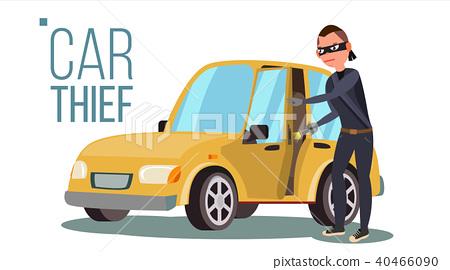 Thief And Car Vector.  40466090