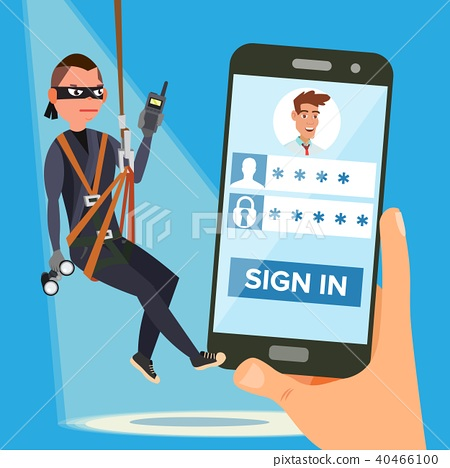 Hacker Stealing Personal Password Vector  - Stock Illustration