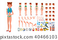 Woman In Swimsuit Vector.  40466103