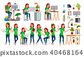 Young Business Woman Set Character Vector. 40468164