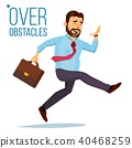Businessman Jumping Over Obstacles Vector. 40468259