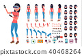 Woman In Virtual Reality Headset Vector. 40468264