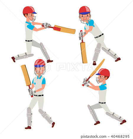 Cricket Player Vector.  40468295