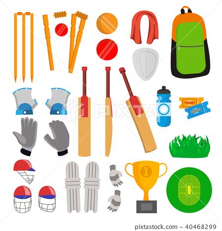 Cricket Icons Set Vector. 40468299