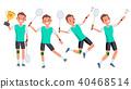 Badminton Male Player Vector.  40468514