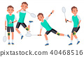 Badminton Man Player Male Vector.  40468516