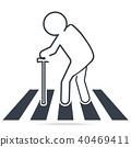 Pedestrian crossing, elderly crossing road sign 40469411