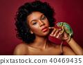 beautiful woman holding chameleon 40469435