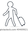Man pulling a Luggage, simple line icon 40469921