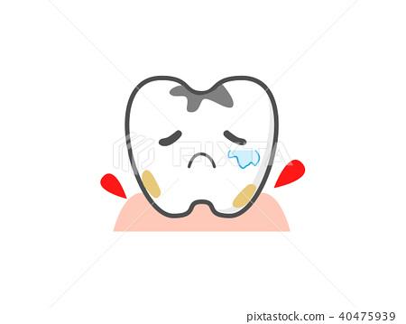 Teeth bleeding gums cute treatment character - Stock