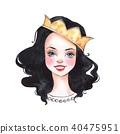 Cute cartoon girl. Princess. Watercolor sketch 40475951