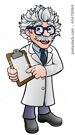 Scientist Cartoon Character Holding a Clipboard 40478064