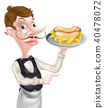 Cartoon Waiter Butler Holding Hotdog Pointing 40478072