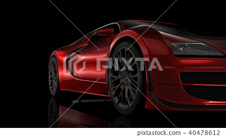 Super sport car in perspective - black background 40478612