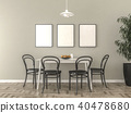 Kitchen table with blank picture frames 40478680