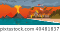 Natural Disaster. Volcano Eruption. Village Resort 40481837