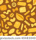 Pasta vector cooking macaroni and spaghetti and ingredients of italian cuisine illustration set of 40483040