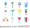 Glass icon set, cartoon style 40487607