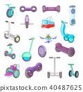 City transport icon set, cartoon style 40487625