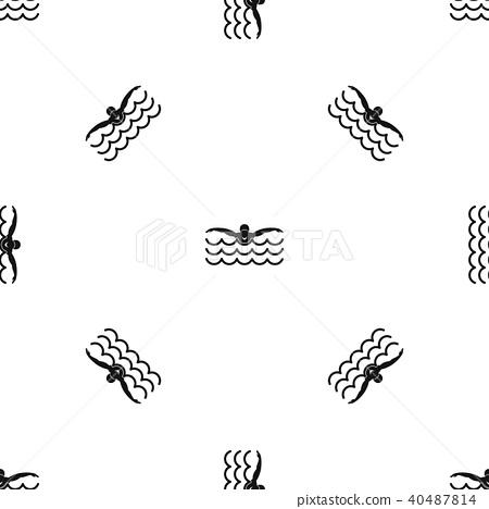 Butterfly swimmer pattern seamless black 40487814