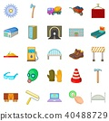 Completion of construction icons set, cartoon style 40488729