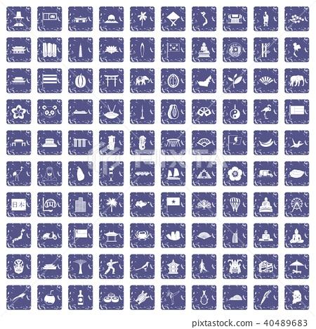 100 asian icons set grunge sapphire 40489683