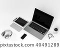 Modern digital silver tech device. 3D rendering 40491289