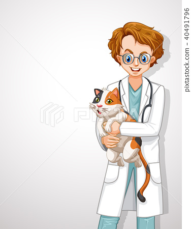 A Male Veterinarian Doctor Hugging Cat 40491796