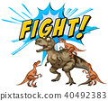 A Comic Dinosaurs Flight  on White Background 40492383