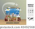 Europe famous Landmark paper art. Global Travel 40492568