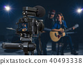 Professional digital Mirrorless camera with microphone recording video blog of Musician duo band singing a song and playing music instrument,Camera for photographer or Video and Live Streaming concept 40493338