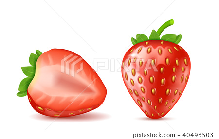 Vector red ripe strawberries, summer berry fruit 40493503