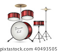 Vector realistic drum kit, percussion instruments 40493505
