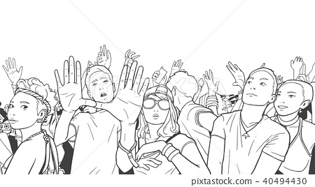 Cheerful japanese crowd at concert illustration 40494430