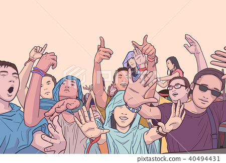 Illustration of party people at festival concert 40494431