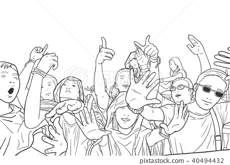 Illustration of party people at festival concert 40494432