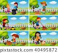 Good Children Doing Housework in Garden 40495872
